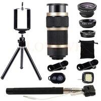 8X Zoom Telephoto Wide Angle Macro Fish Eye Fisheye Lens Tripod Mobile Lenses For Phone Lentes