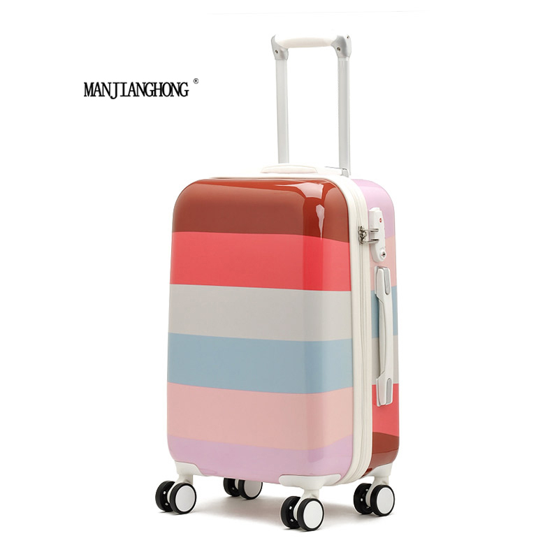 2016 Hot sales Colorful stripes cute trolley caster suitcase/travel luggage board chassis lockbox 20-inch 24-inch men and women стоимость