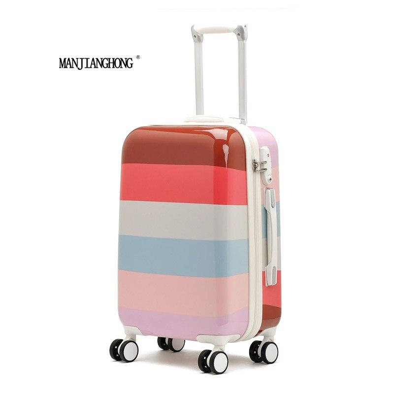 2016 offres spéciales rayures colorées mignon trolley valise à roulettes/voyage bagages conseil châssis lockbox 20 pouces 24 pouces hommes et femmes
