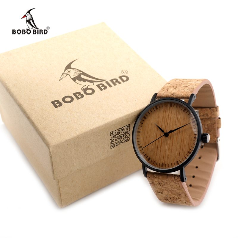 2017 BOBO BIRD Watches for Men Quartz Wooden Dial Wristwatch Genuine Leather Strap with Paper Box relogios masculinos B-E19