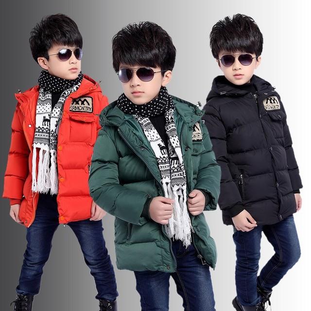 Buena calidad! 2015 Nueva ropa de niños de algodón Chaqueta grande virgen caliente grueso abrigo de invierno del cabrito de la chaqueta Acolchada Chaqueta de invierno