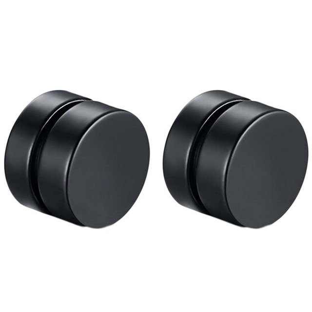 1 Piece Mens Earring Set Stainless Steel Circle Magnetic Clip Stud Earrings Magnet Fake Plugs No