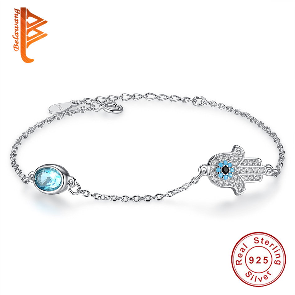 Hand Hamsa Infinity 100% 925 Sterling Silver Bracelets CZ Blue Evil Eye Bracelets Austria Crystal Link Chain Bracelet For Women candy coloured string hand chain bracelets