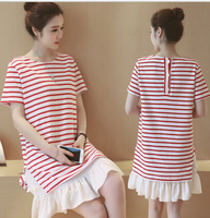 Girls New Summer Dresses Loose Casual Red and White Striped Shirt Dress with White Flounce