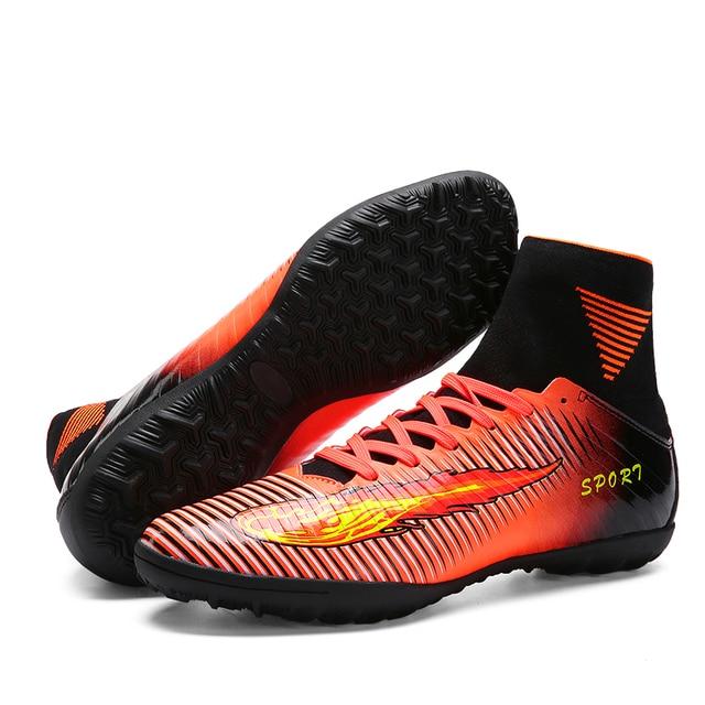 1a712fe93d3 2017 haute qualité pas cher chaussures de Football en salle crampons haute  cheville enfants Football bottes