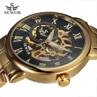 Top 2016 SEWOR Rome Design Hollow Engraving Gold Silver Case Steel Skeleton Mechanical Watches Men Luxury
