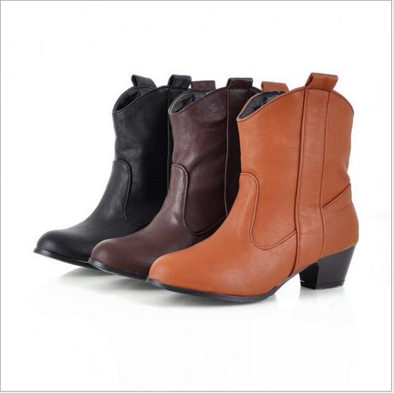 2016 TOP QUALITY WOMEN PU BOOTS Women's non-slip Retro Boots FREE SHIPPING