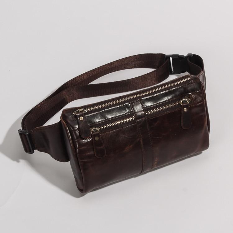 Top Quality Genuine Real Leather Cowhide Men Vintage Messenger Bag Waist Chest Pack Bag 811-49-c