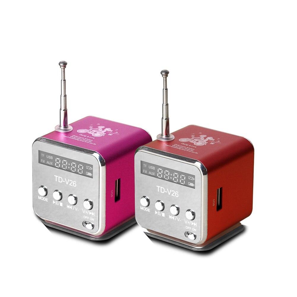 TD-V26 Digitale Radio Mini Altoparlante Portatile Radio FM per il Telefono Del Ricevitore di Sostegno SD/Carta di TF Mp3 Lettore Musicale con USB