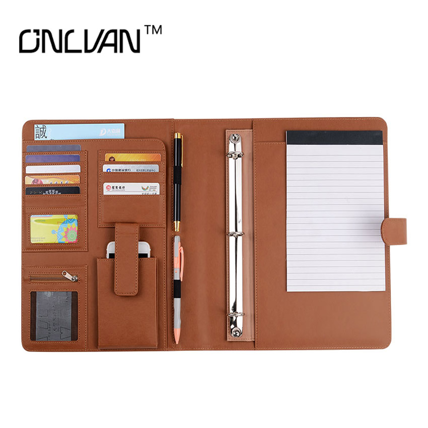 Brown Color Manager Folder PU Leather Document Holders New Design Padfolio Office Accessories Organizer Support Customized manager folders with 4000mah mobile power multifunction cument holder manager holders office supply work accessories
