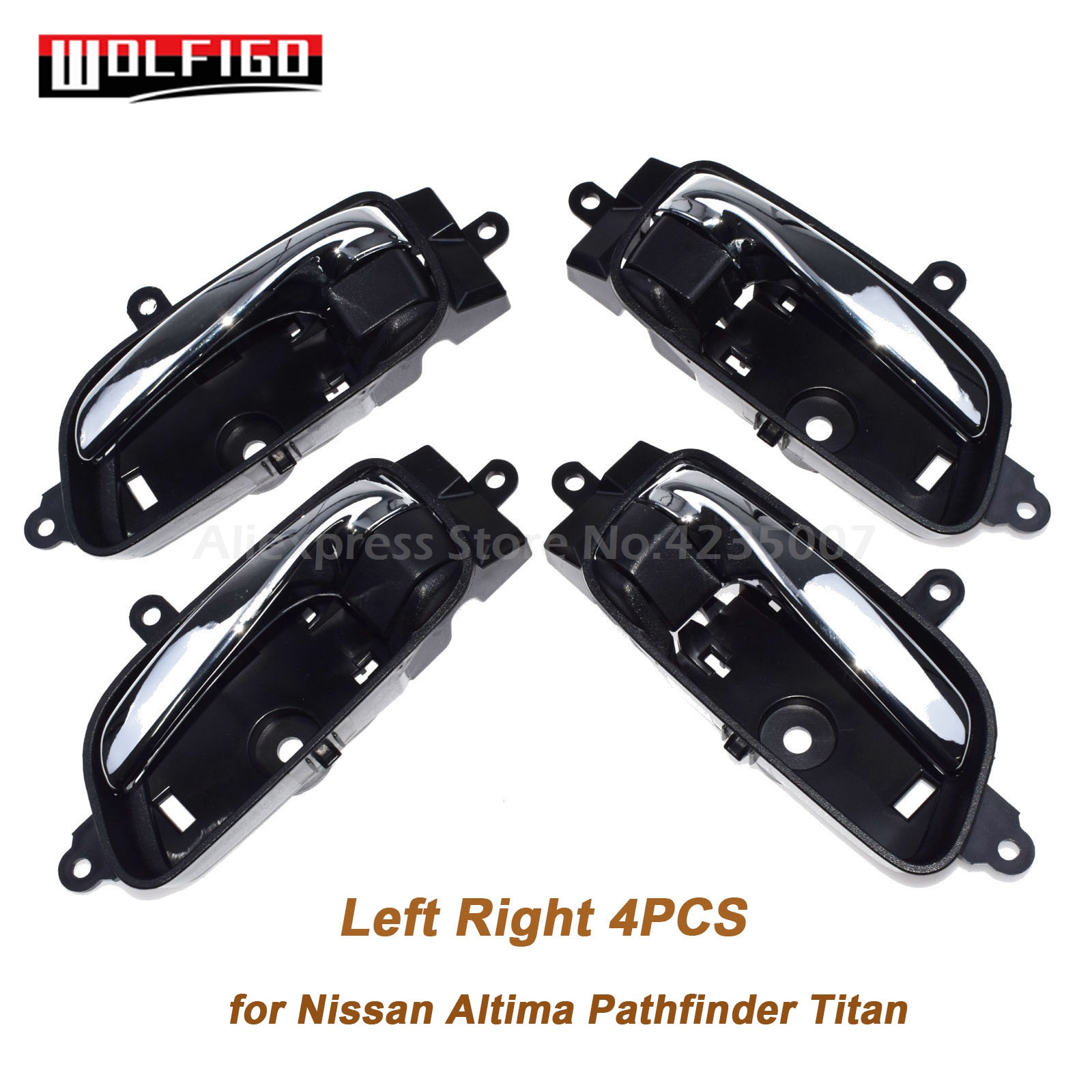 WOLFIGO New Chrome & Black Left Right Inside Door Handles for Nissan Altima Pathfinder Titan 80671-3TA0D, 80670-3TA0D(China)