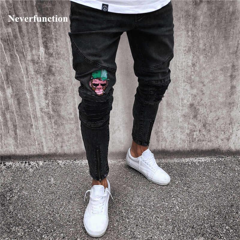 161e16aea52 2018 Fashion Mens Skinny black Jeans Ripped Slim fit Stretch Denim Frayed  Biker Jeans Boys Embroidered