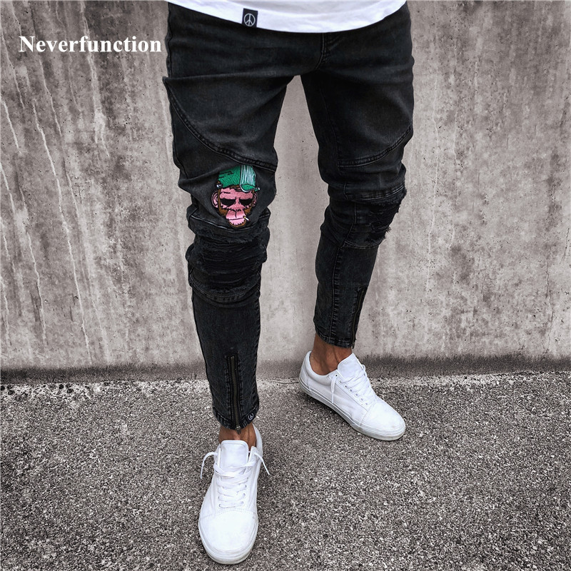 2018 Fashion Mens Skinny black Jeans Ripped Slim fit Stretch Denim Frayed Biker Jeans Boys Embroidered Patterns Pencil Trousers