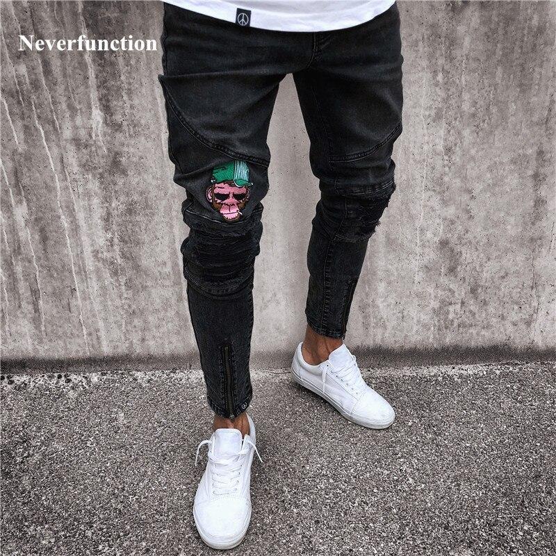 6f394991219 De bolsillo de los hombres de la moda Ripped Skinny Jeans destruidos  deshilachado Slim Fit pantalones