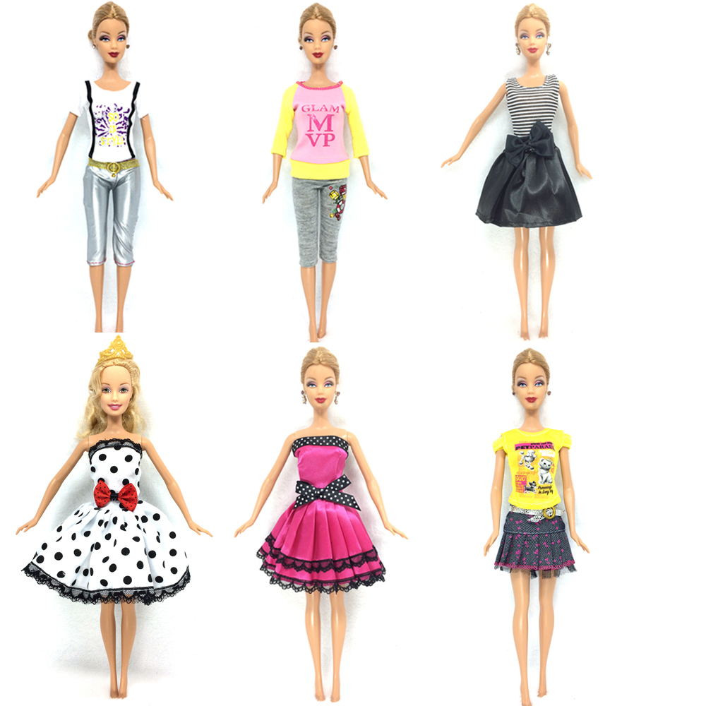 NK 6 Set/Lot  Beautiful Outfit Sexy Dress Casual Skirt Party Gown Clothes For Barbie Doll Baby Toys Best Girls' Gifts Child Toys leadingstar barbie doll dresses 6 party dress 12 casual skirt set random color and styles with doll s accessories zk30