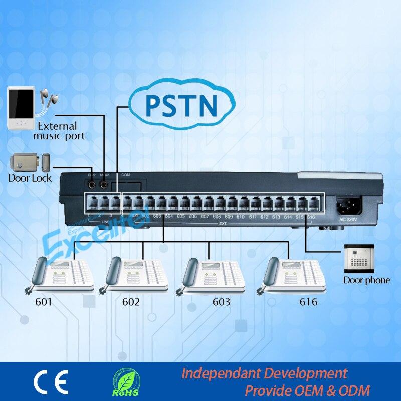 Excelente sistema de PBX económico 16 extensión 4 PSTN PABX para el hogar y la Oficina (CS416)