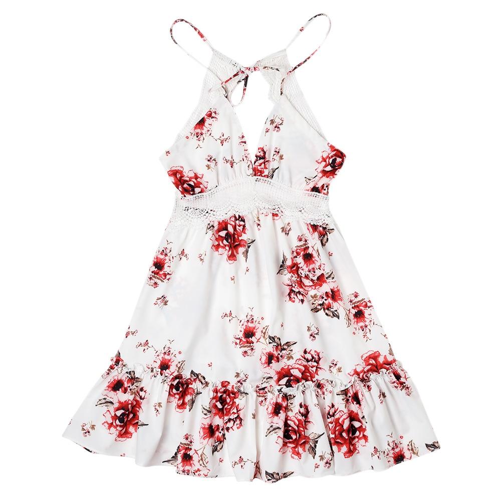 Women Summer Sundress Sexy Backless V-neck Beach Dresses 2019 Sleeveless Spaghetti Strap Spaghetti Strap White Boho Mini Dress