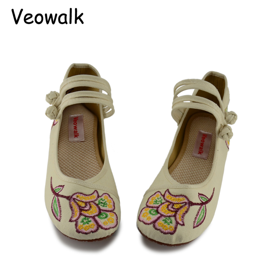 Veowalk Old Beijing Flower Embroidered Women's Casual Cotton Flat Shoes Mary Jane Ladies Vintage Canvas Ballets Zapatos Mujer chinese women flats old beijing mary jane casual flower embroidered cloth canvas dance ballet shoes woman zapatos de mujer