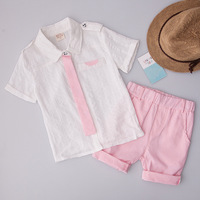 Fashion Children's Clothing Party Sets Spring Summer Baby Boys Suits Kids Clothes 2018 T shirts +Shorts Pink New Arrival S83021A