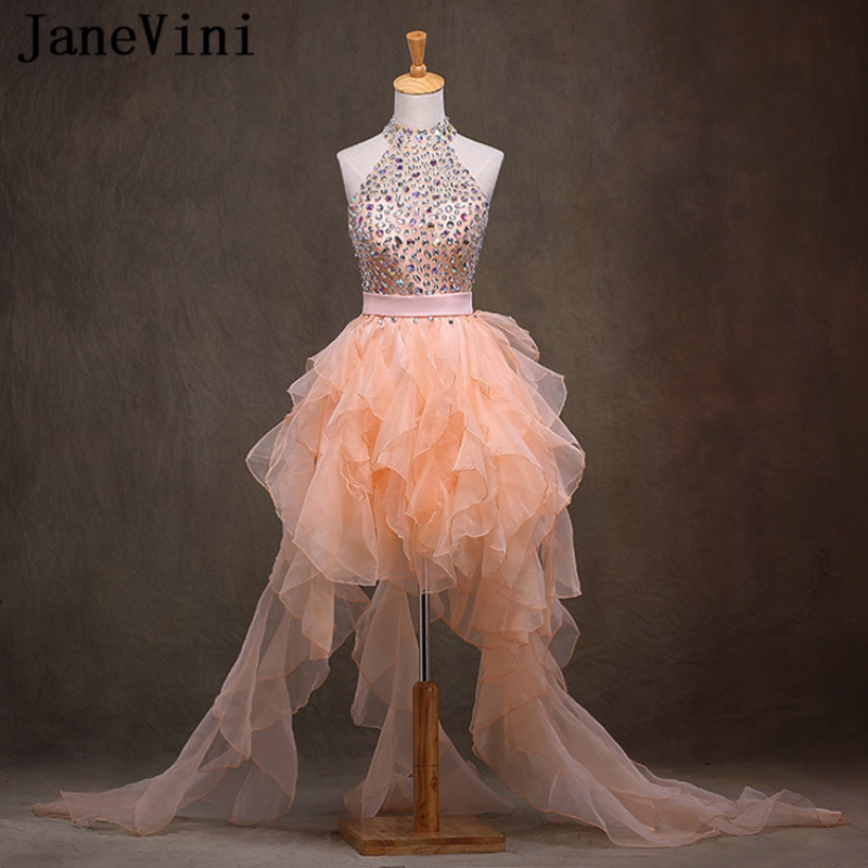 JaneVini Luxury Crystal Short   Bridesmaid     Dresses   2018 A Line Tiered Ruffles Halter Organza Prom Gowns Formal   Dress   For Wedding