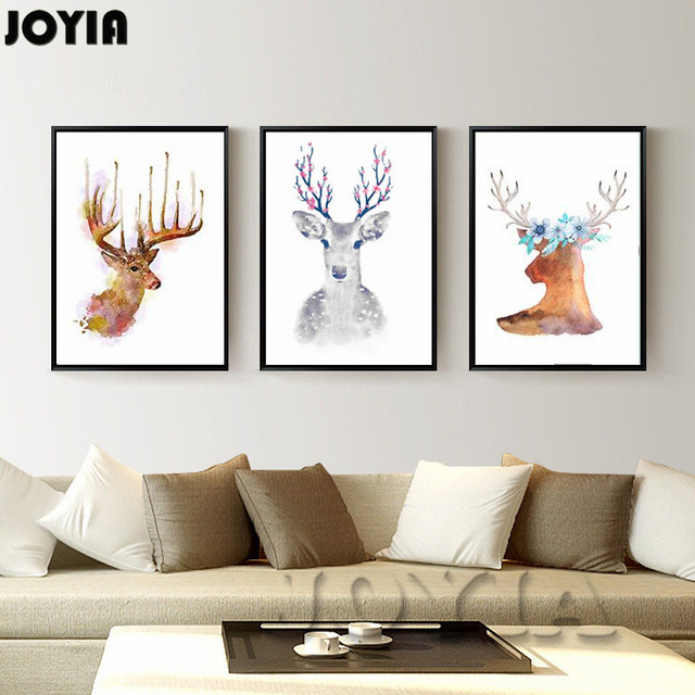 home office wall art. abstract elk paintings modern watercolor canvas print wall art picture set minimalist nordic style home office