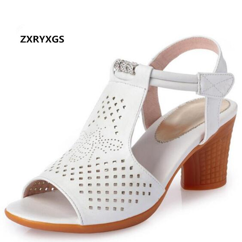 2019 New Rhinestone Hollow Genuine Leather Shoes Summer Women s Sandals Soft Bottom Comfort Women Shoes