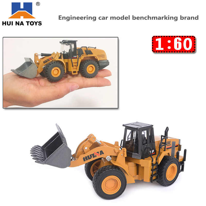 HUINA 1:60 Dump Truck Excavator Wheel Loader Diecast Metal Model Construction Vehicle Toys for Boys Birthday Gift Car Collection