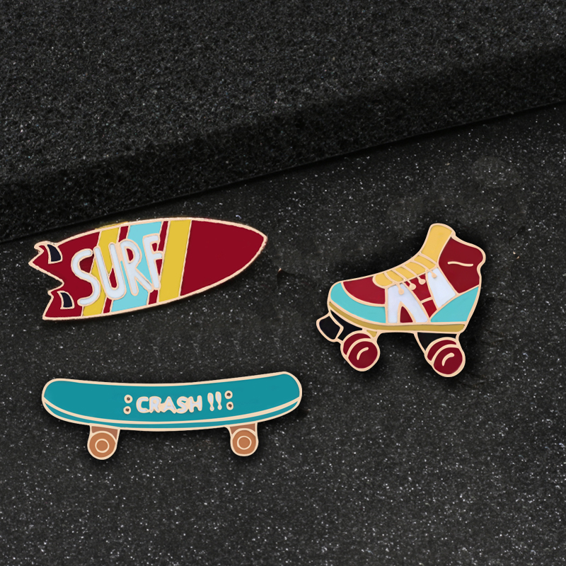 Adaptable 3pce/set Surfboard Skateboard Roller Shoes Enamel Pin Sports Brooches For Women Badge Accessories Boy Jewelry Pins Brooch Gift