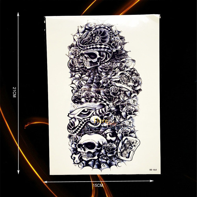1pc Hot Cool Metal Skull Rose Mechanical Arm Sleeve Tattoo Punk Men