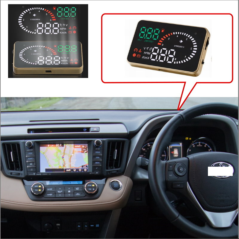 Car HUD Head Up Display For Toyota Corolla RAV4 Yaris Hilux Prius Camry - Safe Driving Screen Projector  / OBD II Connector 2 din quad core android 4 4 dvd плеер автомобиля для toyota corolla camry rav4 previa vios hilux прадо terios gps navi радио mp3 wi fi