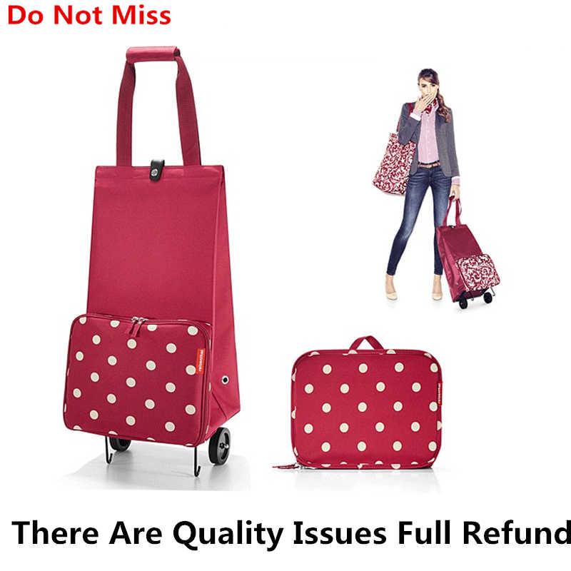 0c9c29a54edb Новая складная сумка для покупок корзина на колесиках сумки небольшой  Тянуть Корзину Для женщин купить Сумка