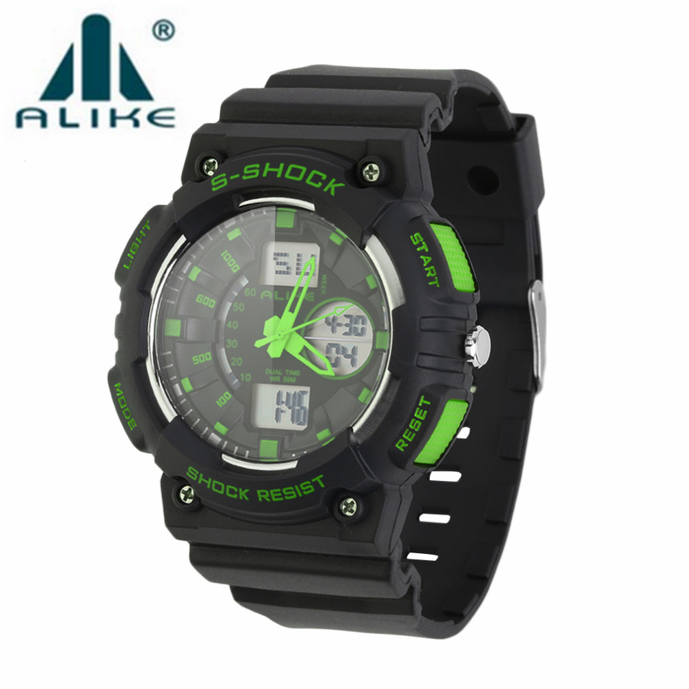 ALIKE Men Back Light Digital Military Sport Wrist Watch with Green/Blue/Black/Red/Orange color Sports Watches Relogio Masculino alike ak1391 sports 50m water resistant quartz digital wrist watch black orange