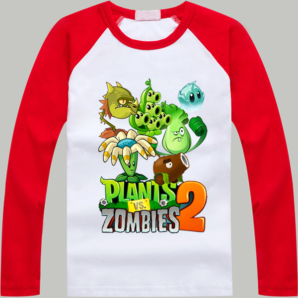 Children T Shirt Spring/Autumn/Winter Plants Vs Zombies Long Sleeve baby Boys clothes Cotton Cartoon T Shirt Kids Clothing Girls c4520 brand autumn winter children patchwork keep warm trousers kids boys girls windproof waterproof sport children pants