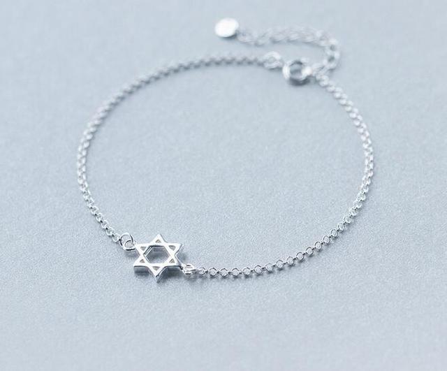 8f45e3780842 Real. 925 esterlina Plata joyería de la Estrella de David pulsera ...