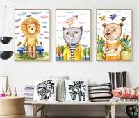 אריה חתול בסגנון נורדי קישוט בעלי החיים ציפור בצבעי מים 3 יחידות קיר תמונת הדפסת אמנות ציורי בד לסלון ללא ממוסגר