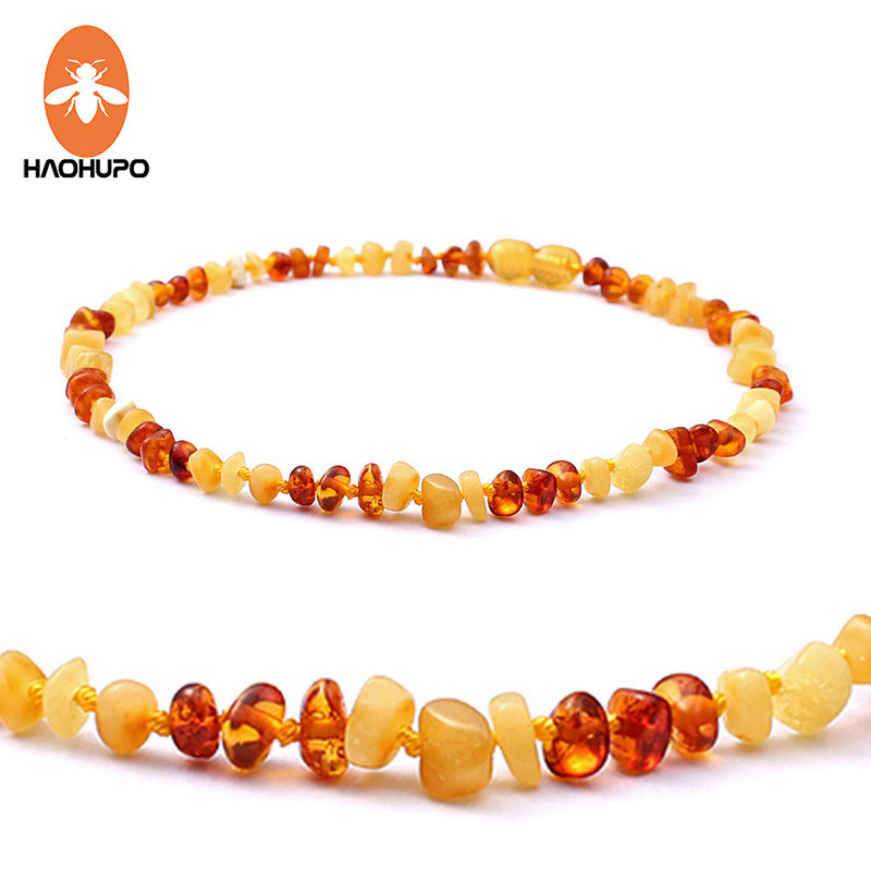 HAOHUPO 100% Baltic Amber Necklace Teething Jewelry Natural Amber Stones Collar Baby Necklace Anti Inflammatory with Jute Bag