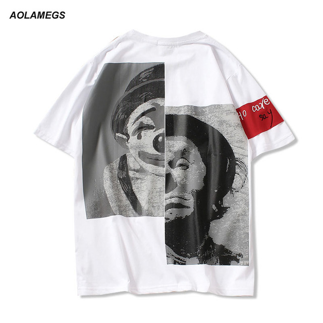 Aolamegs Men T-shirt Clown Printed Letters embroidery T shirt European And American Style Fashion Mens Short Sleeve Tops Tee 5XL