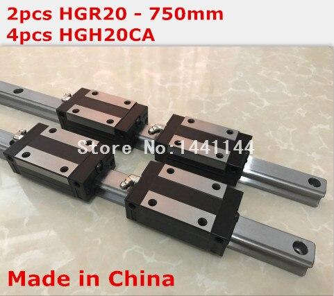 HGR20 linear guide: 2pcs HGR20 - 750mm + 4pcs HGH20CA linear block carriage CNC parts 2pcs hiwin linear guide hgr20 750mm with 4pcs linear carriage hgh20ca cnc parts