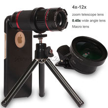 Cheap price 4x-12x Zoom Optical Telescope SLR Phone Case Lens 0.45x Wide&Macro+Holder Camera Tripod For Apple iPhone 7 8 Plus 6S 6 5 5S SE