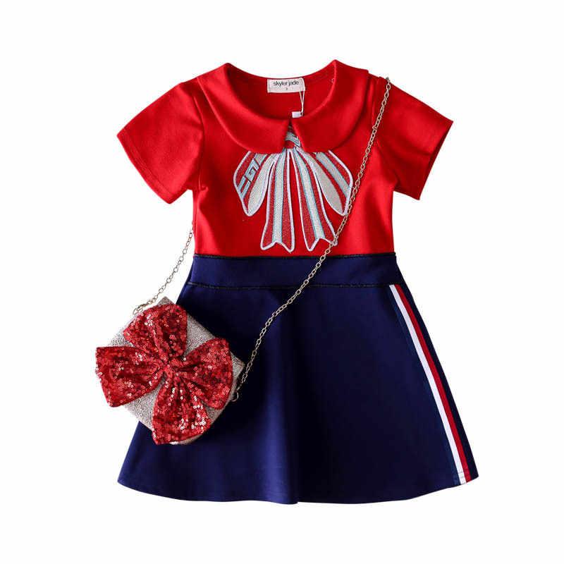 2019 модное летнее праздничное платье для девочек розовое платье принцессы высококачественные детские платья Изысканные милые платья с бантом для девочек