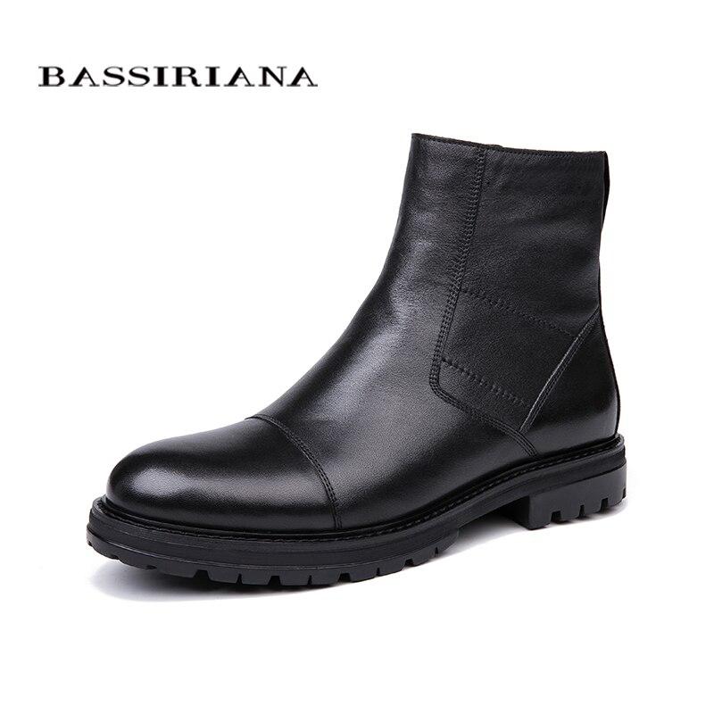 Bassiriana 2018 nuevos zapatos de invierno zapatos de cuero genuino de los hombres botas de invierno botas sin cordones en naturaleza suave lana tamaño negro 39-45