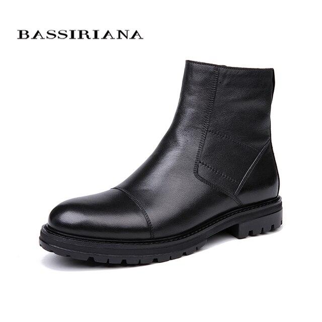 Bassiriana/2018 новые зимние ботинки из натуральная кожа мужские зимние ботинки без шнуровки на мягкой природа шерсть черный размер 39–45