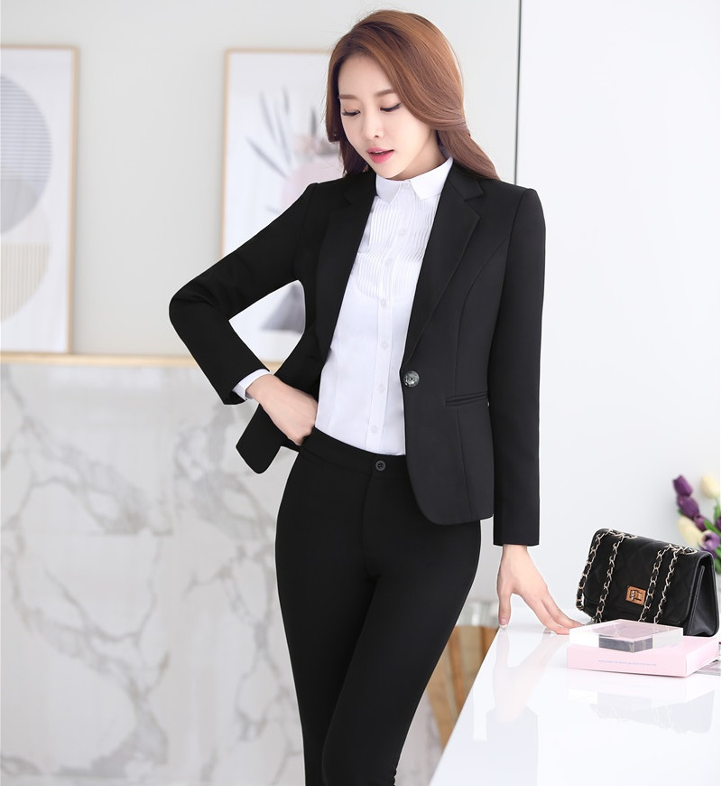 Slim Fashion Autumn Winter Formal Professional Business Women Suits With Jackets And Pants Female Trousers Sets Uniforms Outfits