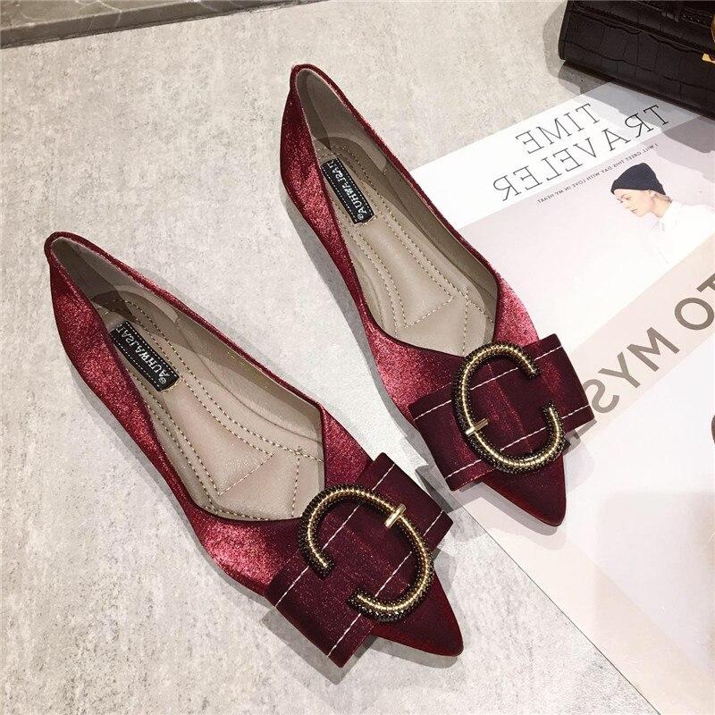 578a07ae Superficial Moda Hebilla Zapatos Planos Mujer Metal Decoración Vino Y Otoño  De Primavera Oficina Plana Las ...