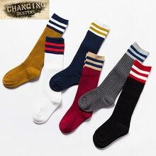 От 3 до 8 лет носки для девочек высокие эластичные носки до колена Meias длинные носки-трубы Детские гетры милые носки