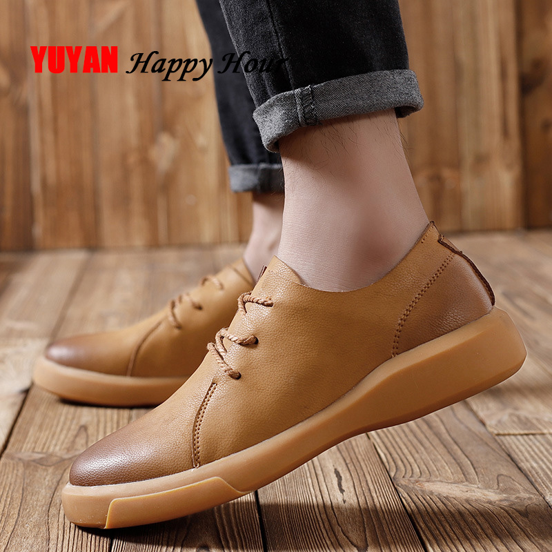 Genuine Leather Men Shoes 2019 Fashion Brand Male Shoes Cow Leather Men Casual Shoes Black Brown A879