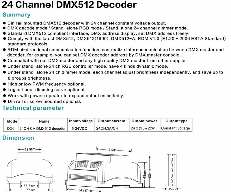 BIG SALE] D24 24 Channel CV Led DMX512 Decoder D24