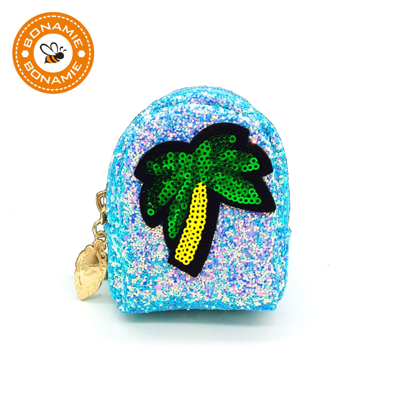 BONAMIE Shining Sequined Coconut Tree Mini Small Paillette Coin Purse Fashion Ladies Wallet Key Bag Unique Girl Clutch Bag