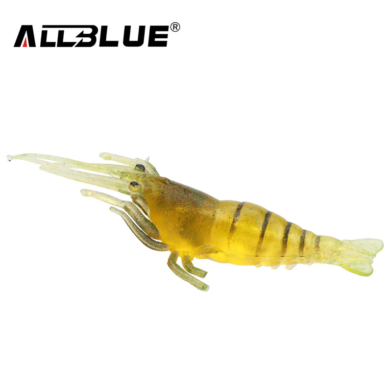 ALLBLUE 20pc/Lot Soft Fishing Lure 50mm/1g Silicone Creature Lure For Fishing Soft Bait Shrimp Bass Bait Peche Fishing Gear