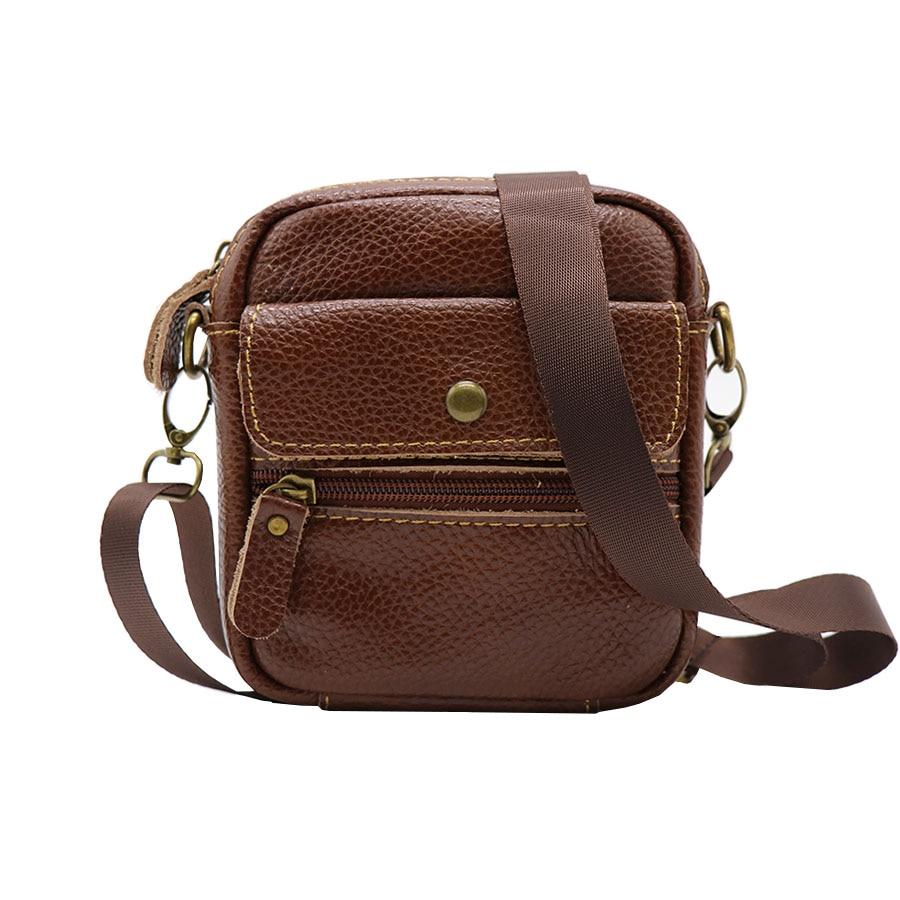 Sac à bandoulière messager vintage en cuir véritable ceinture sac hommes multi-fonction mini sacs de voyage décontractés pour téléphone mobile